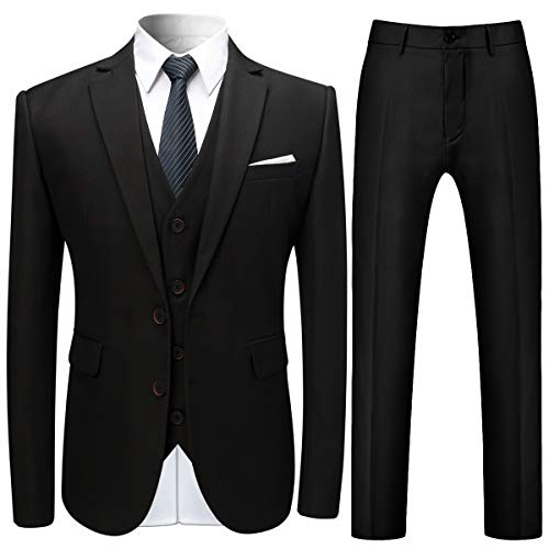 Mens Suits 3 Pieces Slim Fit Wedding Formal Dinner Suits for Men Blazer Black Navy Wine Red 2 Button Tuxedo Jacket Trousers Waistcoat