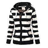 Misaky Women's Hoodie Autumn Winter Long Sleeve Striped Pockets Zipper Casual Loose Sport Coat(O-Black, XL)