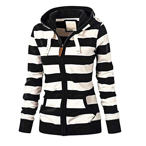 Damen Sweatjacke mit Kapuze, Herbst Winter Kapuzenpullover Damen Hoodie Oversize Sweatshirt mit Reißverschluss Gestreift Blouson Jacket Riou Günstig