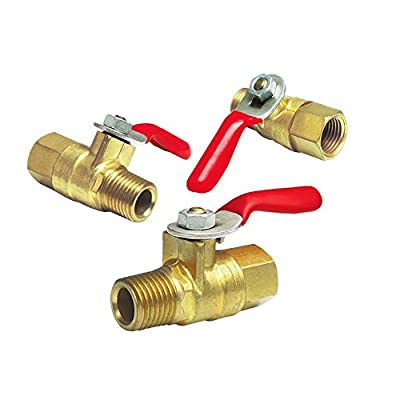 "NIGO AN10 Series Forged Brass Mini Ball Valve, 1/4"" NPT Male x 1/4"" NPT Female, 180 Degree Operation Handle, Rated to 600WOG - 3 Pack by Nigo Industrial Co."