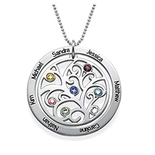 Collar Mujer Plata Collar Mujeres Collar de Plata Nombre Personalizado Grabado Piedra Collares Cadena de Joyería de La Vendimia Árbol de la Vida Colgante de Regalo para la abuela (plata 18)