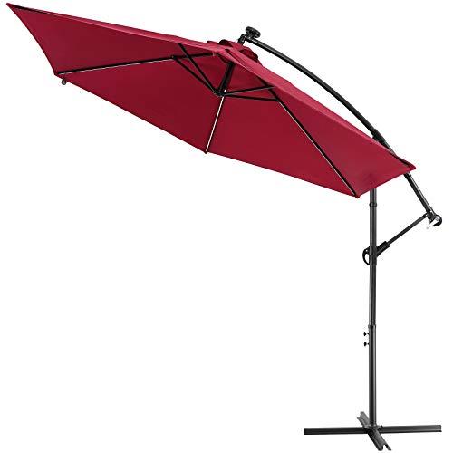 Kingsleeve Alu Sonnenschirm 330 cm LED Solar Beleuchtung Kurbel Ständer Groß Ampelschirm Gartenschirm Garten - Rot