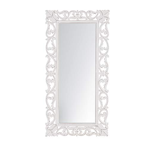 MH London Wall Mirror I Hand Carved Wooden Accent Mirrors for Hallway, -