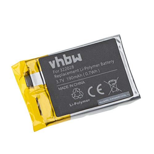 vhbw Batterie remplace Tomtom 322028, AHB322028 pour smartwatch Montre Bracelet Fitness (190mAh, 3,7V, Li-Polymère)