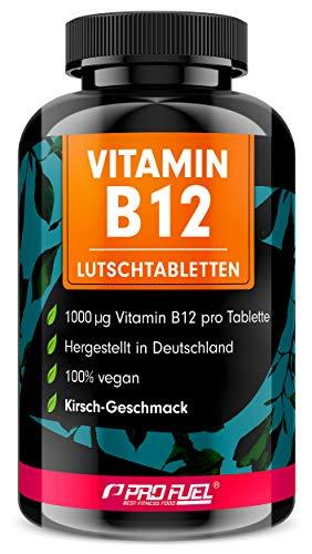 Vitamin B12 Lutschtabletten 240x mit 1000µg (mcg) aktives Methylcobalamin - Kirsche-Geschmack - vegan & hochdosiert - vegane Tabletten zum Lutschen - Ohne Zuckerzusatz - mit Xylit gesüßt - ProFuel