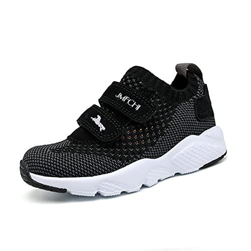 shanglutong Turnschuhe Jungen Sportschuhe Kinder Schuhe Mädchen Sneaker Hallenschuhe Atmungsaktiv Leichte Laufschuhe Straßenlaufschuhe für Unisex-Kinder Schwarz grau Gr 25