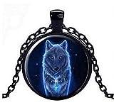 Unbekannt Anhänger Halskette Bedruckt Wolf, Kette schwarz.
