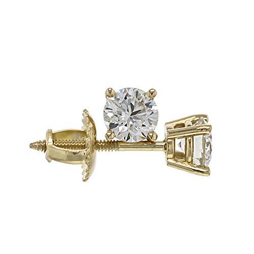 IGI Certified 1/2 Carat Lab-Grown Diamond Stud Earrings 14kt Yellow Gold (0.50 cttw, I-J Color, VS2-SI1 Clarity)
