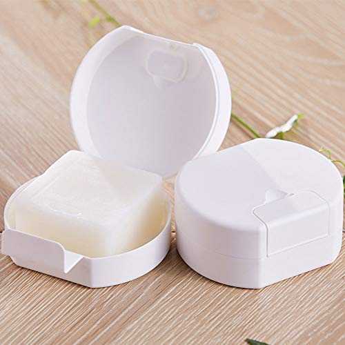 Bar Soap Travel Case Holder Mini Small Bath Hand Face Body Soap Storage Box Dish Container Cute with Lid Cover for Shower Bathroom Gym Camp Outdoor Portable Carrying Plastic Waterproof White (Round)