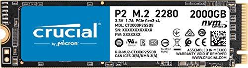 Crucial P2 CT2000P2SSD8 Disco Duro sólido Interno SSD de 2TB, de hasta 2400 MB/s (3D NAND, NVMe, PCIe, M.2)