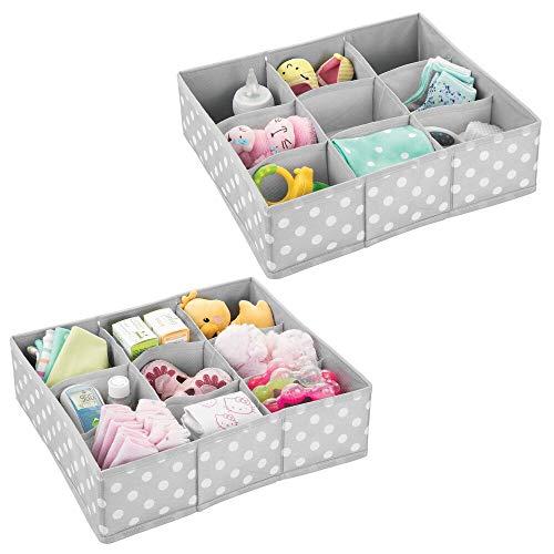 mDesign Juego de 2 cajas de almacenaje para habitaciones infantiles o baños – Cestas organizadoras en fibra sintética de lunares – Organizadores de armarios con 9 compartimentos – gris claro/blanco