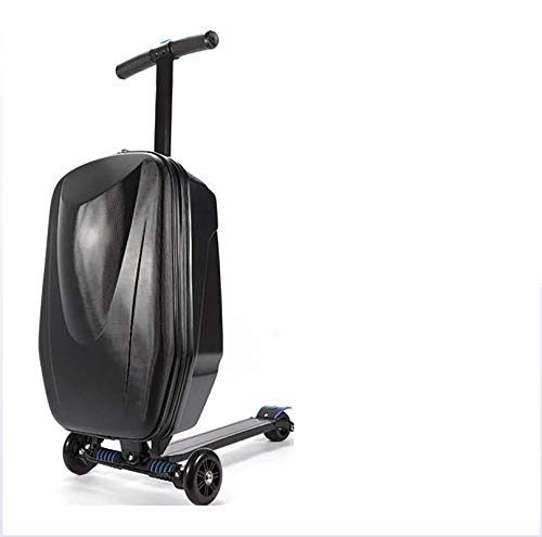 HRXS Skateboard trolley case, you can slide the shift suitcase for travel, shopping, etc,Black