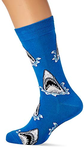 Socksmith Herren Shark Attack Socken, Blau (Blau Blau), One size