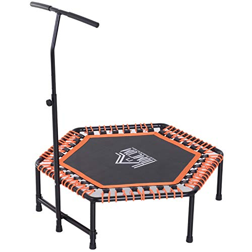 "HOMCOM 48"" Mini Trampoline Rebounder Indoor Outdoor Mini Jumper with Adjustable Handle Hexagonal Orange"