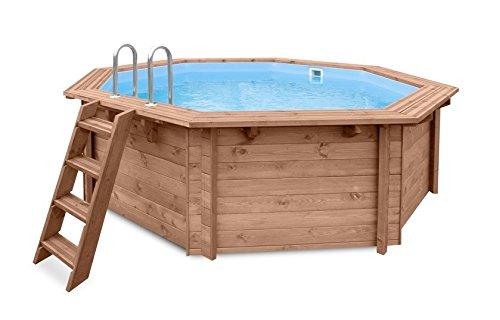 Jardín Piscina Tropical Sunshine, piscina a y 96188, madera, oktogonal Piscina, 4,34X 4,01X 1,16m, Bomba, Pool Escalera, Skimmer