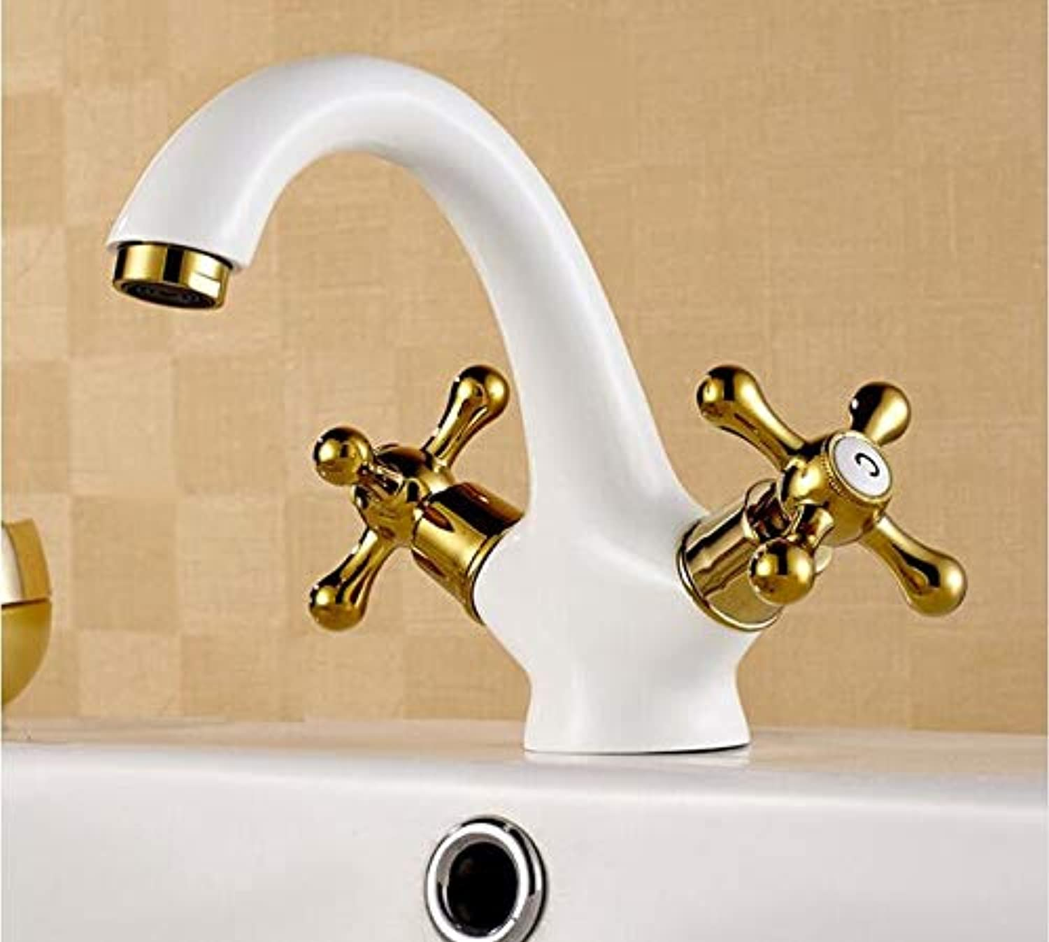 Makej New Arrival European Antique gold Plated White Faucet Basin Sink Universal Double Handle Hot and Cold Mixer Bathroom Taps
