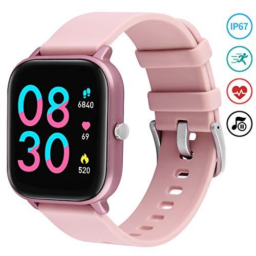 Fullmosa Relojes Inteligentes Mujer Hombre,Smartwatch IP68 con Monitoreo Frecuencia Cardíaca Cronómetros, Pulsera Actividad Inteligente para Deporte, Fitness Tracker Android iOS(SW-003)