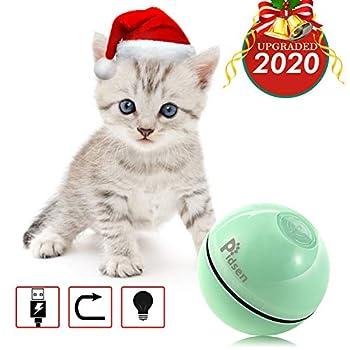 Pidsen Balle Chat Jouet Automatique Jeux Interactif avec Lumineuse Balles à Rouler Rechargeable pour Chaton Vert