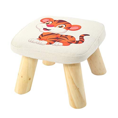 Taburete otomano Pequeño banco animal del modelo pequeño, taburete adulto del sofá de los niños creativos de la tela de madera sólida, lugares múltiples disponibles Reposapiés ( Color : White3 )