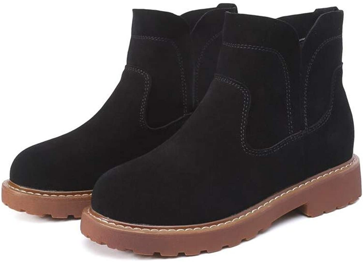 SUNNY Store Women's Round Closed Toe Chelsea Faux Suede Low Heel Ankle Boot