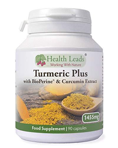 Turmeric Plus, Curcuma Longa Herb + Curcumin Extract 95% + BioPerine (Peperine Extract) for Maximum Absorption, 90 Vegan Capsules, No Nasty Additives & Magnesium Stearate Free, Made in The UK