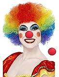 Hemuu 1PCS pagliacci Parrucca Arcobaleno con 2PCS Spugna Rossi Pagliaccio Naso, Parrucche Divertenti, Parrucca Costume Cosplay Partito, Parrucca Testa esplosiva, Clowns Wig per Adulti