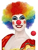 Hemuu 1PCS Arco Iris Payasos Peluca con 2PCS Rojas esponjas Payasos narices, Pelucas de Disfraces Divertidas, Fiesta Cosplay Peluca, explosiva Cabeza Peluca, Clown Wigs para Adultos