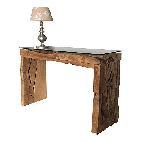 dasmöbelwerk Konsolentisch Konsole Tisch massiv aus Teak Wurzelholz mit 1 cm Sicherheits Glasplatte