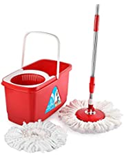 Cello Kleeno Easy Clean 360 Degree Bucket Spin Mop With 1Extra Micro Fibre Refil