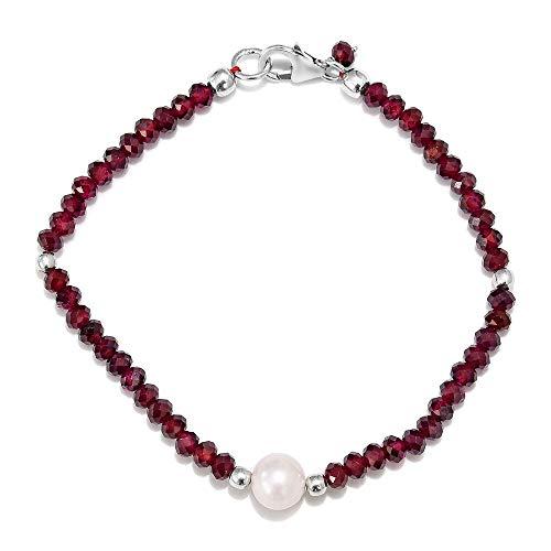 TJC Garnet Bead Strand Bracelet for Women in 925 Sterling Silver with Fresh Water Pearl Size 7.5'