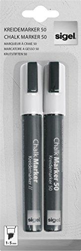 Preisvergleich Produktbild SIGEL GL184 Kreidemarker weiß,  2 Stück,  Keilspitze 1-5 mm,  abwischbar - weitere Farben