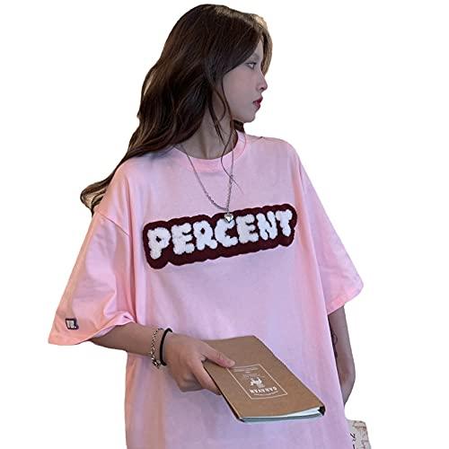 韓国 レディース tシャツ レデ 夏 韓国 tシャツ 韓国ファッション半袖tシャツ 韓国ファッション レディースィース 韓国 (ピンク)