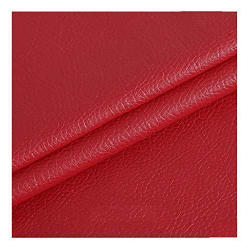 ZHANGAIZHEN Lychee De Cuero Artificial Patrón De Imitación De Cuero De Piel De Cuero Suave Bolsa De Cuero Bolsa De Cuero Bolsa De Cuero De Cuero De Cuero Tela Hecha A Mano DIY138(Color:Rojo)