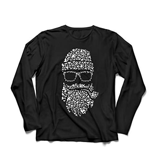 lepni.me Camiseta de Manga Larga para Hombre Noviembre No Afeitado, Barba de pájaros, Estilo Hipster (XXXX-Large Negro Multicolor)