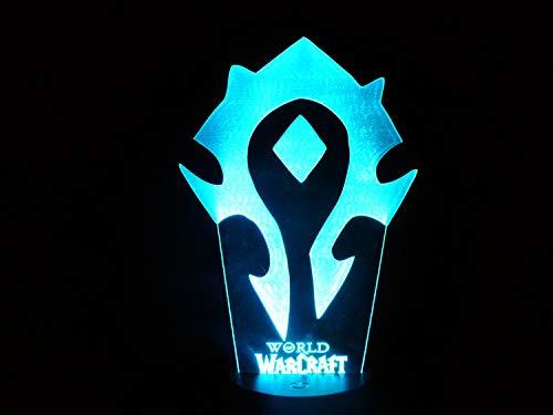 Mode créative World of Warcraft LED veilleuse, lampe de table 3D chevet de la chambre, cadeaux de télécommande pour les enfants