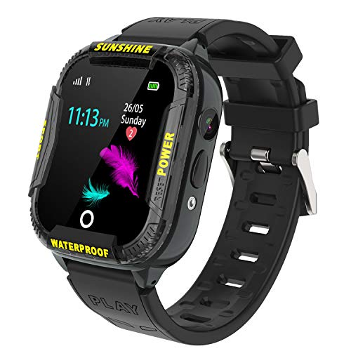 Kids Smart Watch Waterproof, WIFI LBS Tracker SOS Call Smartwatch Phone for Kids 3-12 Year Old Boys Girls with Two-Way Call Touch Screen Voice Chat Camera Game Flashlight for Birthday Christmas,Black