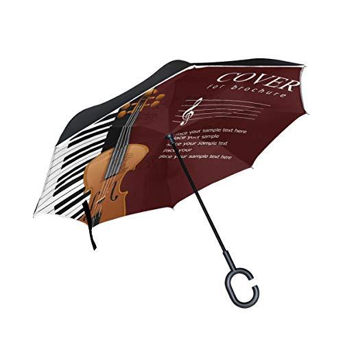 Umkehrbarer Regenschirm für Klavier, Violine, Musiknote, groß, doppelt, Winddicht, Regenschutz, Auto-Rückwärtsschirme mit C-förmigem Griff