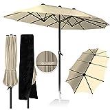 KESSER® Sonnenschirm Doppelsonnenschirm + Abdeckung | Gartenschirm | Marktschirm | Terrassenschirm mit Handkurbel | Oval | Aluminium | UV-beständig | wasserabweisenden | Beige