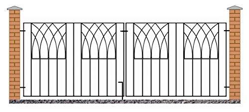 Abbey Modern Driveway Gates 3095mm GAP x 812mm High galvanised wrought iron dual swing metal gate ABZP12