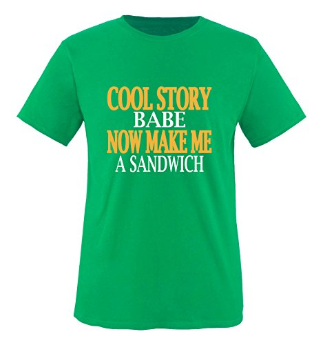 Comedy Shirts - Cool Story Babe. Now Make me a Sandwich - Herren T-Shirt - Grün/Weiss-Gelb Gr. XL