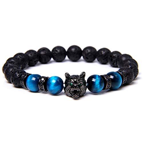 Pulsera Save A Wolf, pulsera de roca de lava con cabeza de lobo, cristal curativo, alivio del estrés, pulsera con cuentas de piedra energética anti-ansiedad, pulsera de lava curativa para hombres