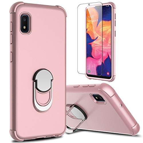 lovpec Galaxy A10e Case with Soft TPU Screen Protector, Ring Magnetic Holder Kickstand Shockproof Protective Phone Cover Case for Samsung Galaxy A10e 5.8 inches (Pink)