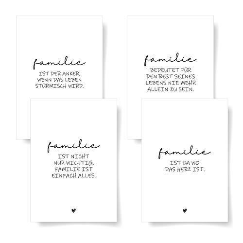 Donari® Postkarten 4er Set DIN A6 • Hochwerige Postkarten mit Sprüchen • Postkarten in edlem Design Schwarz Weiß • Freunde Sprüche Karten (Familie)