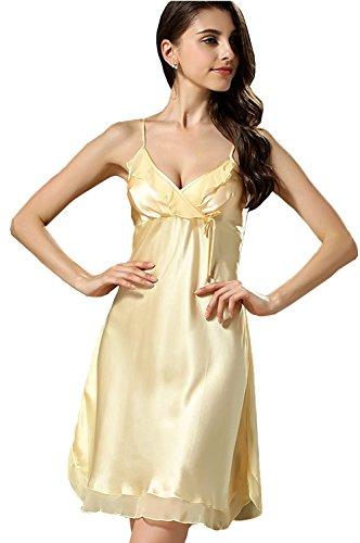 BININBOX Damen Edles Nachthemd aus Seide 100% Silk Nachtkleid Nachtwäsche mit Spagetti-Trägern Sexy Negligee (34, Gelb)