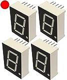 AERZETIX - Juego de 4 - Pantalla digital - Módulo - Paneles Luminoso - 28.6x20mm - LED 7 segmentos - Rojo - THT - Número de dígitos 1 - C44233