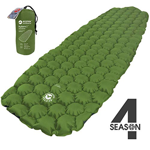 ECOTEK Outdoors Insulated Hybern8 4 Season Ultralight Inflatable Sleeping Pad with Contoured FlexCell Design -...