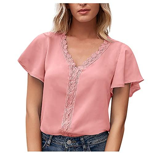 Liably Camiseta de manga corta para mujer, cuello en V, con volantes, para verano, elegante, clásica, básica, informal Rosa. M