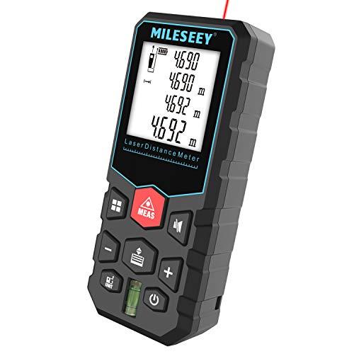 MiLESEEY Laser Entfernungsmesser mit Pythagoras-Modus, Entfernung, Fläche und Volumen Messen, Lasermessgerät Messbreich 0,05~40m/±2mm mit M/In/Ft, 20 Datenspeicherfunktion IP54,Batterien enthalten