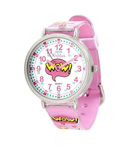 Orologi educativi KIDDUS per bambini, ragazze. Orologio da polso analogico con esercizi per imparare a leggere l'ora, movimento al quarzo giapponese, facilità di lettura dell'ora. KI10315 Wow!…