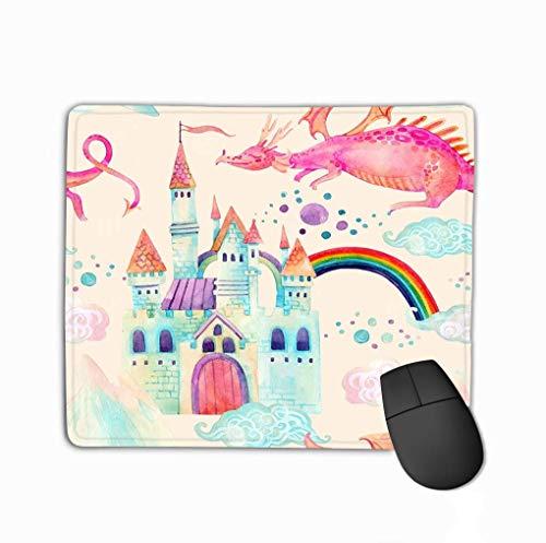 Grote aquarel sprookje schattig draak magie kasteel bergen fee wolken kleine prinses kroon pastel